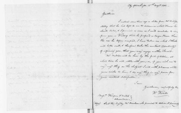 William Thornton to Thompson & Veitch, August 15, 1801. Verso of N. Voss and W. Thornton agreement.