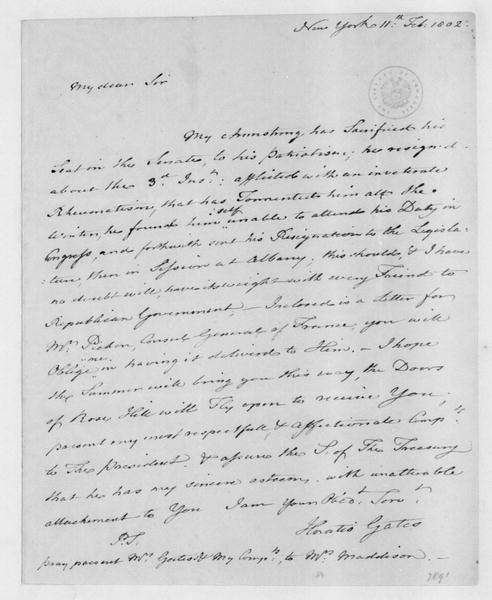 Horatio Gates to James Madison, February 11, 1802.