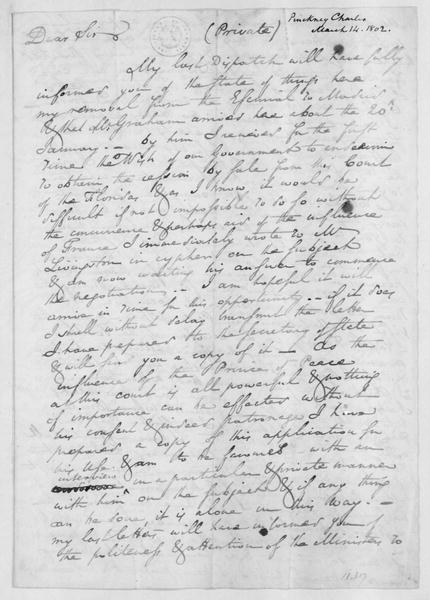 Charles Pinckney to James Madison, March 14, 1802.