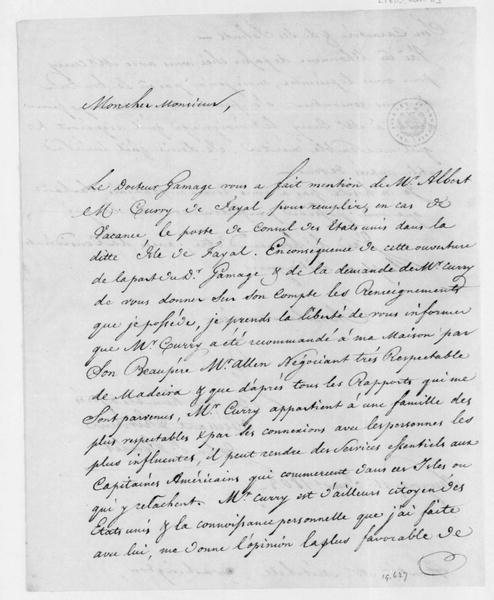 John S. Roulet to Samuel Latham Mitchill, January 11, 1803. In French - enclosure in Mitchill Jan.15, 1803 letter.