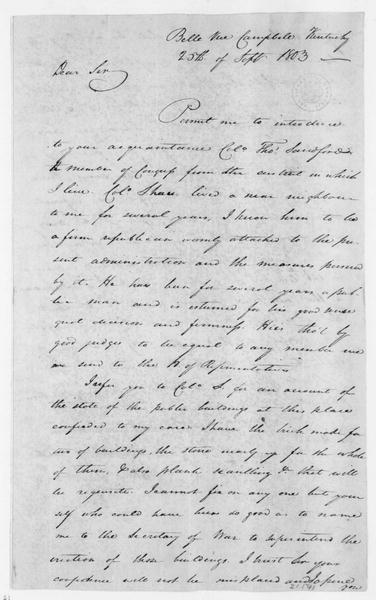 James Taylor to James Madison, September 25, 1803.
