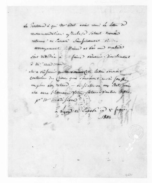 Roux-Bordier to James Madison, February 1, 1804. In French.