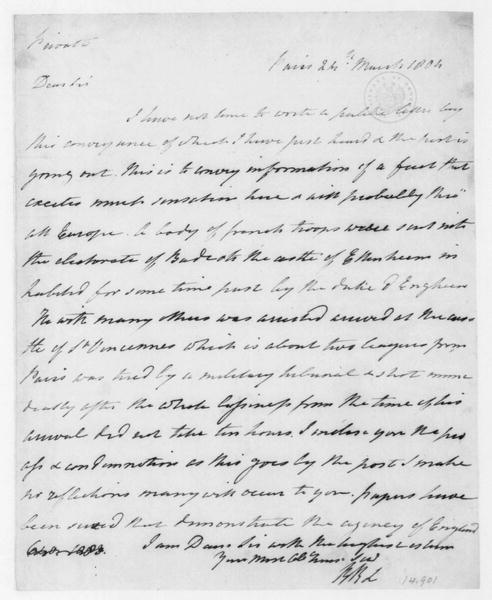 Robert R. Livingston to James Madison, March 24, 1804.
