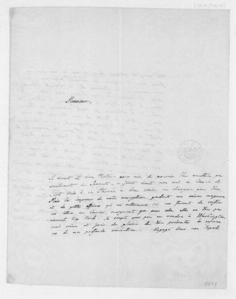 Alexander von Humboldt to James Madison, May 24, 1804. In French.