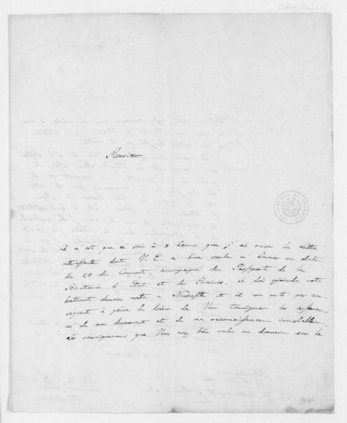 Alexander von Humboldt to James Madison, June 27, 1804. In French.