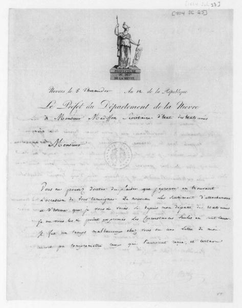 P. A. Adet to James Madison, July 23, 1804. In French.
