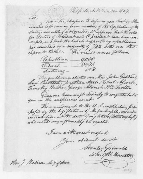 Stanley Griswold to James Madison, November 26, 1804.