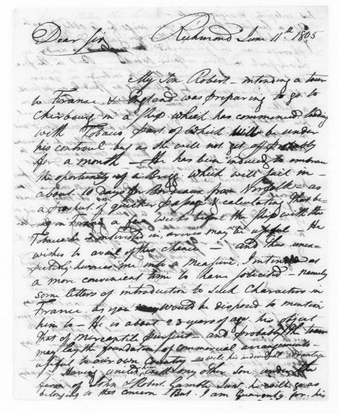 R. Gamble to James Madison, June 11, 1805.