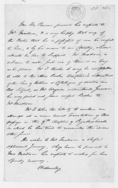 Peter S. Duponceau to James Madison, October, 1805. Includes a quote in French and translation.