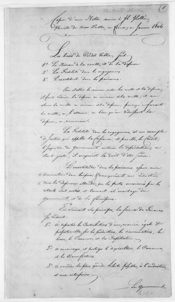 Thomas Melville to Mollien, January 8, 1806. Report in French.