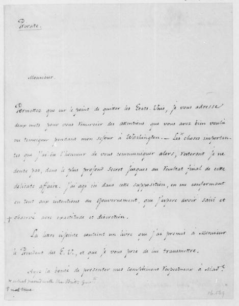 Francisco de Miranda to James Madison, January 22, 1806. In French.