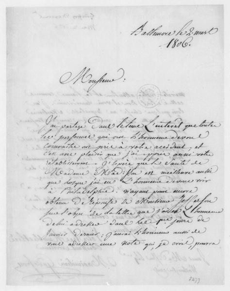 Maximillian Godefrou to James Madison, March 2, 1806. In French.