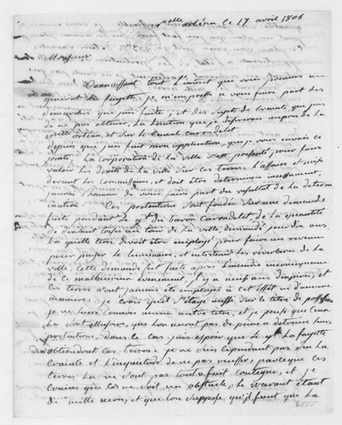 Armand Duplantier to James Madison, April 17, 1806. In French.