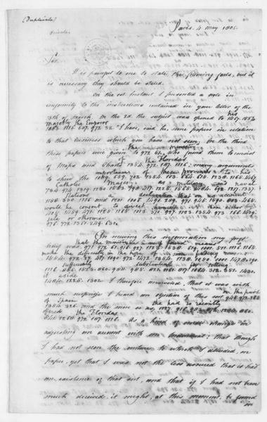 John Armstrong to James Madison, May 4, 1806. Partly in cipher and includes a copy.