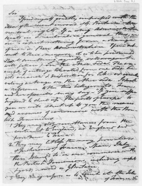 Tench Coxe to James Madison, June 8, 1806.