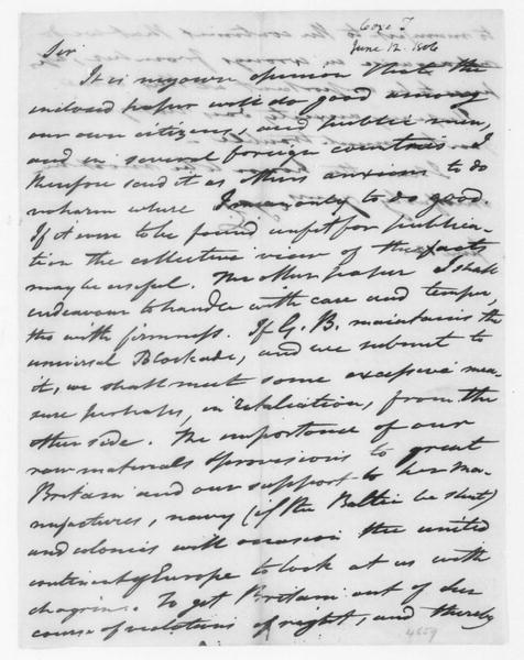 Tench Coxe to James Madison, June 12, 1806.