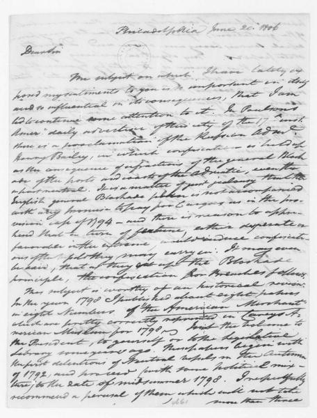Tench Coxe to James Madison, June 20, 1806.