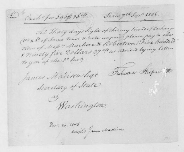 Fulmar Skipwith to James Madison, September 7, 1806. With order and receipt by Johnson.