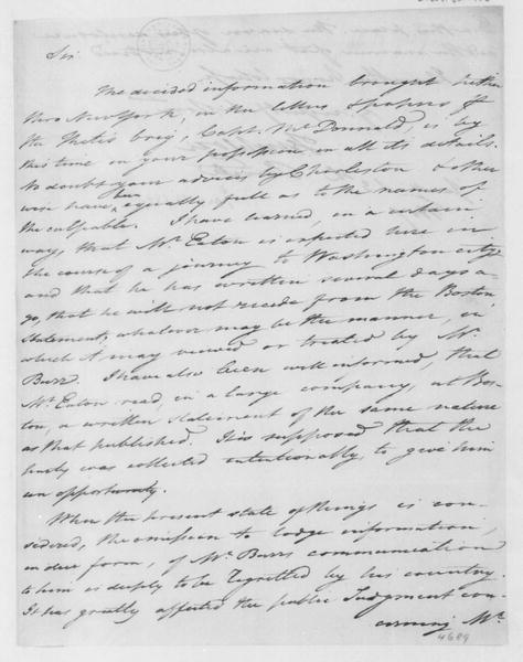 Tench Coxe to James Madison, January 13, 1807.
