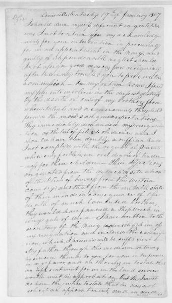 W. D. L. Taylor to James Madison, January 17, 1807.