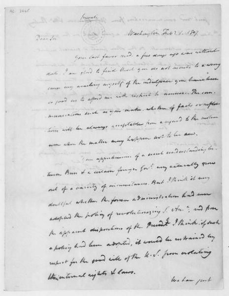 James Madison to Tench Coxe, January 1, 1807.