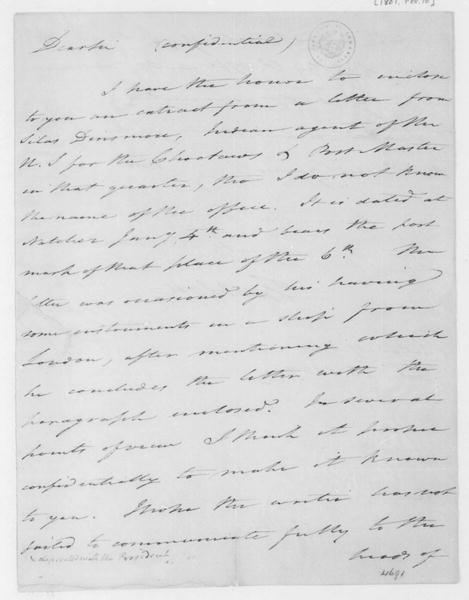 Tench Coxe to James Madison, February 10, 1807.