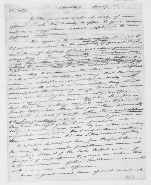 Tench Coxe to James Madison, March 27, 1807.