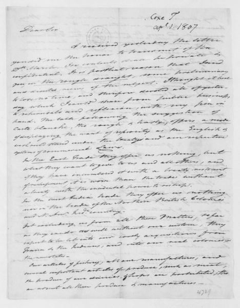 Tench Coxe to James Madison, April 1, 1807.