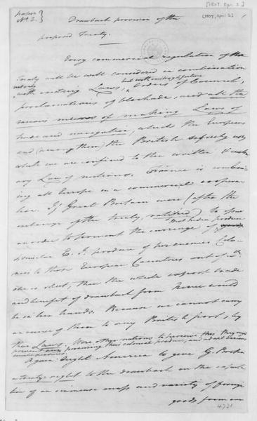 Tench Coxe to James Madison, April 2, 1807. Notes and answers to questions from James Madison's Mar 27, 1807 letter.