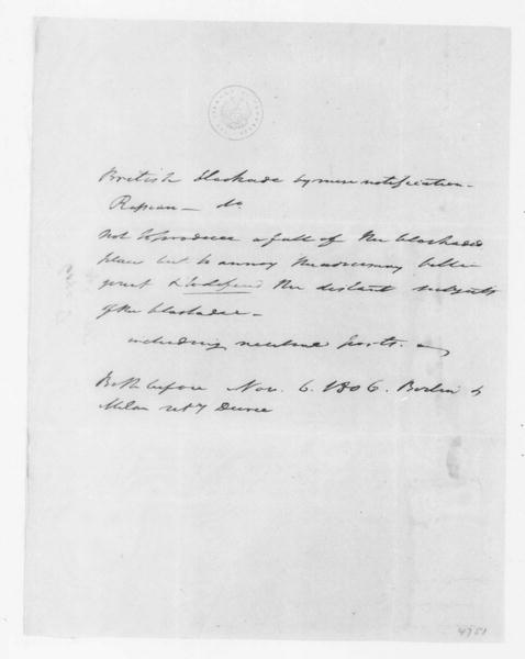 Tench Coxe to James Madison, April, 1807. & Notes on treaty articles.
