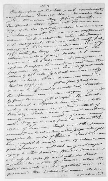 Tench Coxe to James Madison, May 5, 1807. Includes notes on issues important to American merchants and industry.