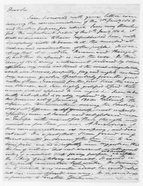 Tench Coxe to James Madison, June 1, 1807.