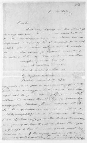 Tench Coxe to James Madison, June 14, 1807.