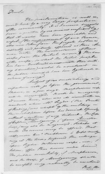 Tench Coxe to James Madison, July 6, 1807.
