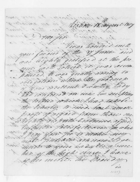 William Jarvis to James Madison, August 18, 1807.