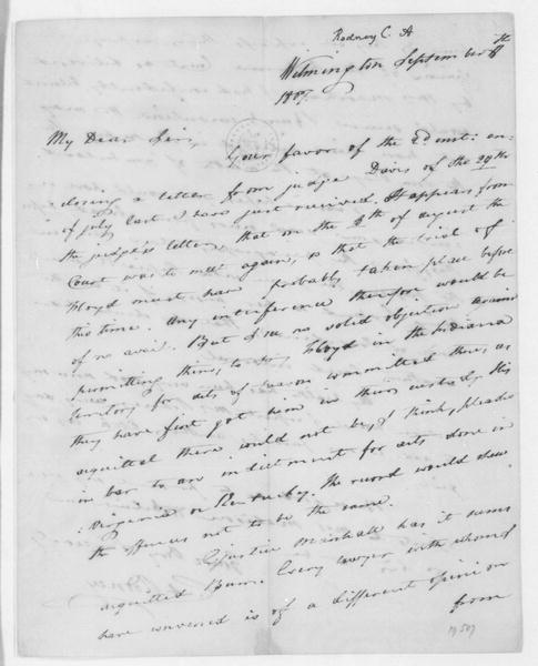 Caesar A. Rodney to James Madison, September 18, 1807.