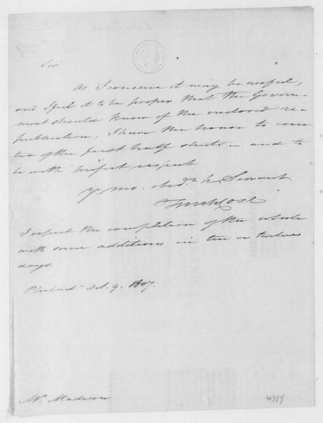Tench Coxe to James Madison, October 9, 1807.