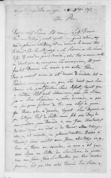 White Hair (Native American) to Thomas Jefferson, November 6, 1807. In French.