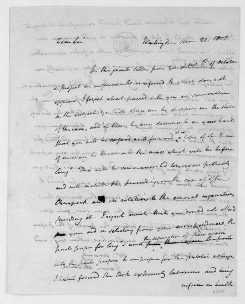 James Madison to James Monroe, March 21, 1808. With Copy.