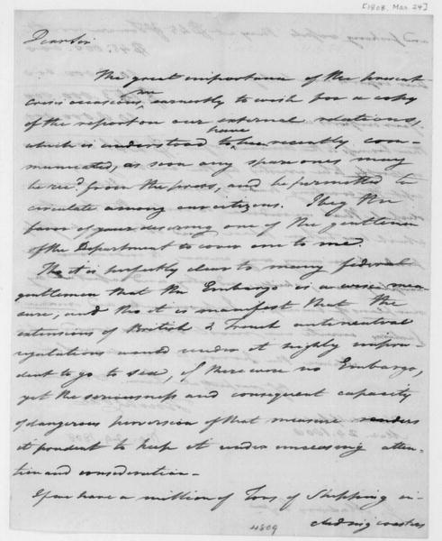 Tench Coxe to James Madison, March 24, 1808.