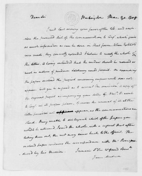 James Madison to James Monroe, March 30, 1808. With Note by James Monroe.