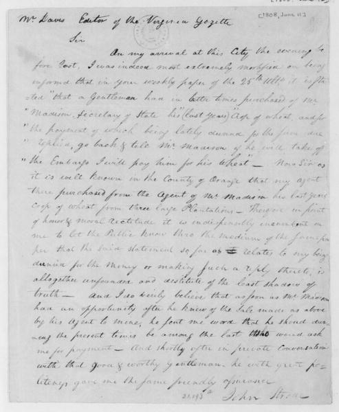 John Strode to Davis, June 11, 1808. Letter to the editor of the Virginia Gazette with additional extract dated May 25.
