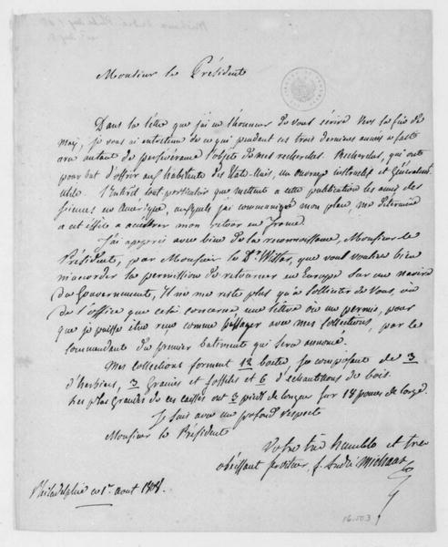 Andre Michaux to Thomas Jefferson, August 1, 1808. In French.