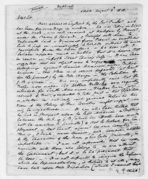 William Pinkney to James Madison, August 2, 1808. With Aug 4, 1808 Postscript.