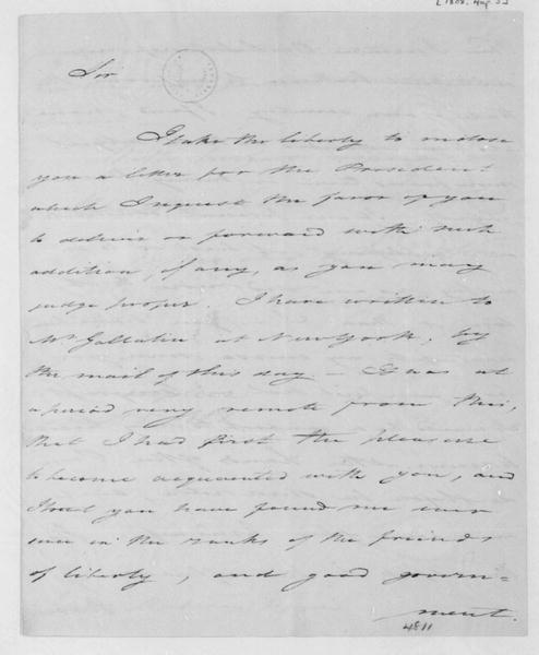 Tench Coxe to James Madison, August 5, 1808.