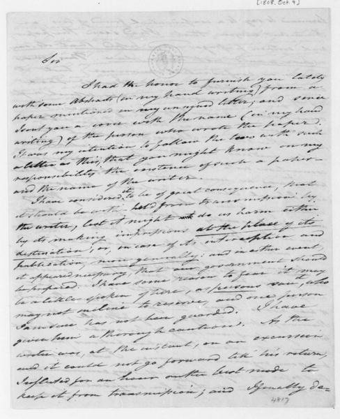 Tench Coxe to James Madison, October 4, 1808.
