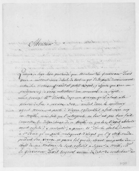 Pierre Chouteau to Thomas Jefferson, December 10, 1808. In French.