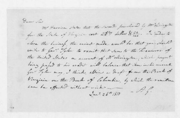 Albert Gallatin to James Madison, January 26, 1809.