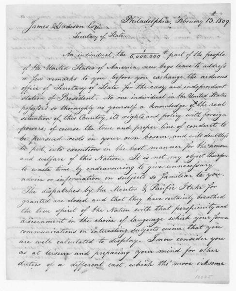 Henry Hutchins to James Madison, February 13, 1809.