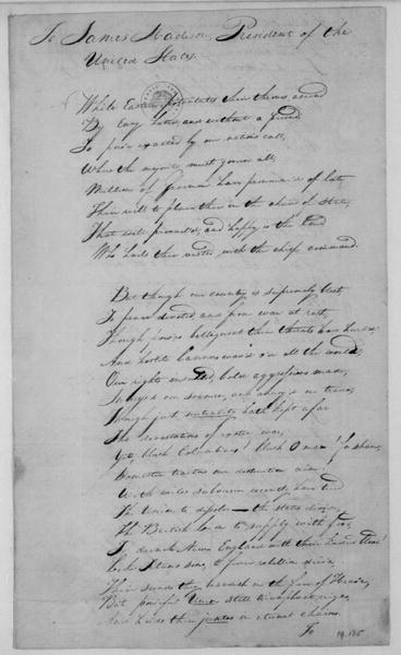 William Ray to James Madison, March 22, 1809. Poem with letter enclosed.